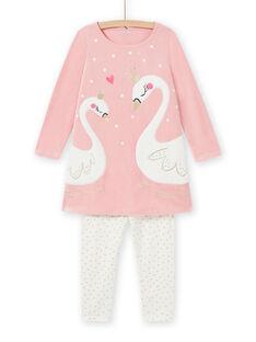 Pijama de color rosa viejo con estampado de cisnes de fantasía para niña MEFACHUVEL / 21WH1192CHN303