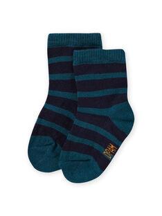 Calcetines de color azul pato de rayas para bebé niño MYUJOCHOR4 / 21WI1019SOQ714